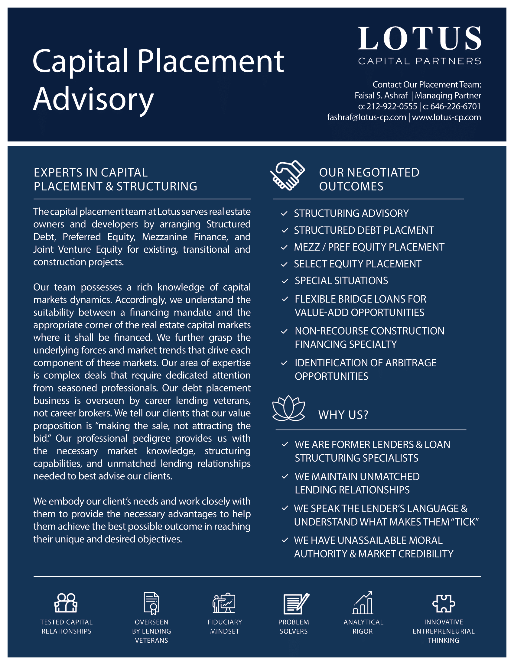 Capital Placement & Restructuring Advisory